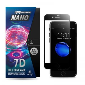 Crong 7D Nano Flexible Glass - Szkło hybrydowe 9H na cały ekran iPhone 8 / 7 / 6s / 6 (Black)